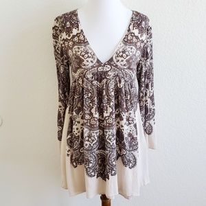 Free People Cream Brown V Neck Tunic Top Dress 0